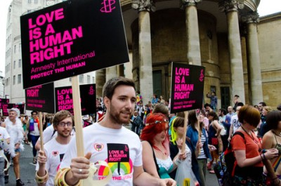 Amnesty International marchers at Pride London 2011