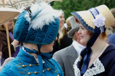 Two Jane Austen fans in blue