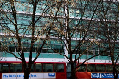 Buses parked in front of University College Hospital London