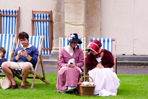 Women in costume for Jane Austen Festival in Bath, England