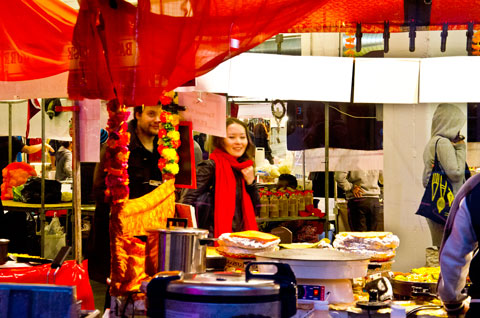 Market stall with food and drink, Truman Brewery, Brick Lane, London, England