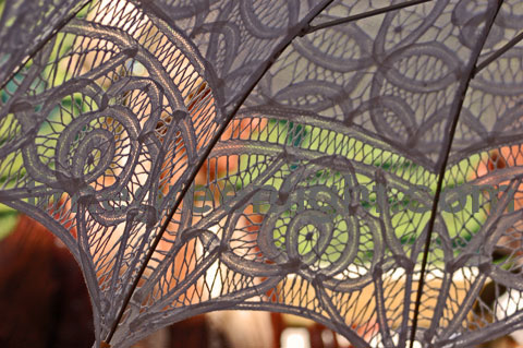 image looking through lace parasol