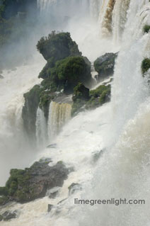 spectacular view of one of the hundreds of falls at Iguazu Falls in Argentina