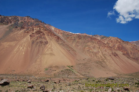 Contrasting brilliant colours in the Argentinian landscape near San Juan