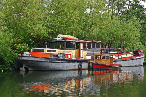colourful boat on Regent's Canal near St Pancras Station London